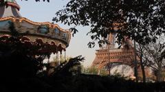 Eiffel Tower Carousel Daytime Paris France Stock Footage