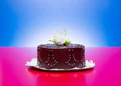 Chocolate cake with white candy rose decoration - stock photo