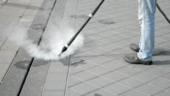Street cleaner with hot steam equipment, technology. Stock Footage