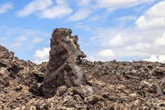 volcanic stones in Timanfaya, Lanzarote - stock photo