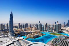 Downtown Dubai is a popular place for shopping and sightseeing Stock Photos