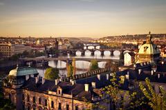 Prague at sunrise Stock Photos