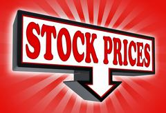Stock prices pricetag sign Stock Photos