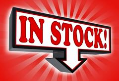 In stock sign with arrow down Stock Photos
