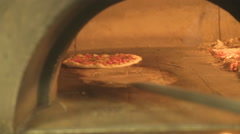 Wood fire pizza oven Stock Footage