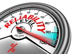 Reliability level conceptual meter Stock Photos