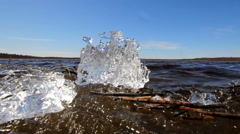 Great sounds and ice slices in  spring Stock Footage