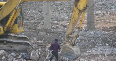 Excavator working & dumper truck on construction site,china. Stock Footage