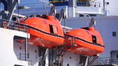 Ship rescue escape lifeboats Stock Footage