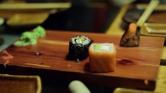 A table at sushi bar Stock Footage