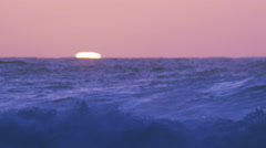 Setting Sun Disk, Hawaii, North Shore, Slow Motion Waves Stock Footage