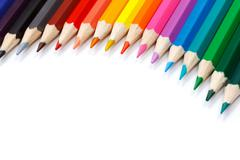 Color palette made in colorful pencils Stock Photos