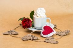 ?up of coffee with cream with flower rose and heart . - stock photo