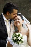 Newly-married couple - stock photo