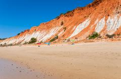 Cliffs at Praia da Falesia - stock photo