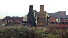 Old Bottle Kilns from Stoke-on-Trent industrial buildings urban decay Stock Footage