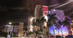 Traffic in downtown Miami  at night, time-lapse Stock Footage