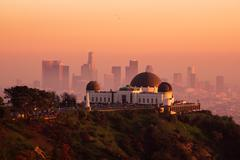 Sunset on Downtown Los Angeles and Griffith Observatory Stock Photos