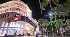 Lincoln Road Mall shopping center at night, time-lapse, Miami Stock Footage