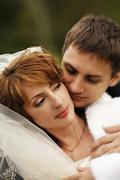 Newly married pair - stock photo