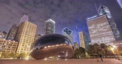 The Bean at night time lapse in Chicago Stock Footage