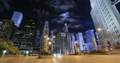 Chicago night sky moon time lapse Stock Footage