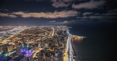 Aeriel view of Lake Michigan, Chicago time lapse Stock Footage