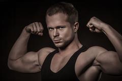 Handsome athlete Stock Photos
