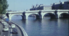 Paris Seine Street Cars 70s 60s 80s 16mm Stock Footage