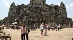 People in Angkor Wat temple, Siem Reap, Cambodia Stock Footage