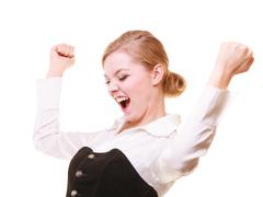 Success in work. Businesswoman celebrating promotion Kuvituskuvat
