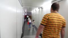 People inside boarding ramp in airport Stock Footage