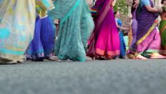 Women in Hindu traditional costumes, dancing and singing Hare Krishna mantra Stock Footage