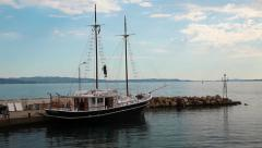 Ship on landing pier, Aegean Sea, Chalkidiki, Greece Stock Footage