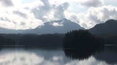 Inside Passage Mountain Reflection with Clouds Stock Footage