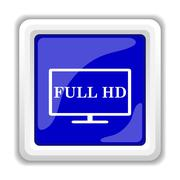 Full HD icon. Internet button on white background.. - stock illustration