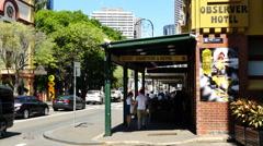 Australia Sydney Bistro and street with pedestrians 4k Stock Footage