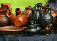Pots from clay - stock photo