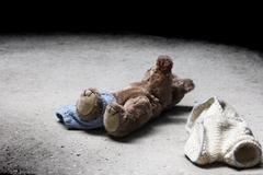 stripped teddy - stock photo