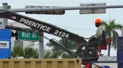Crane opperator 4k Stock Footage
