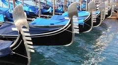 Gondolas in the sea in Venice ITALY Stock Footage
