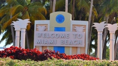 Welcome to Miami closeup sign 4k Stock Footage