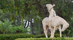 Indian on a horse statue MIami Beach 4k Stock Footage
