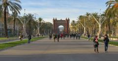 BARCELONA, SPAIN: The Arc de Triomf is the triumphal arch in Barcelona. Stock Footage