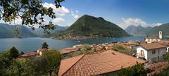 the beautiful lake of Iseo, North Italy, near Brescia and Bergamo - stock photo