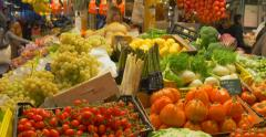 La Boqueria food spanish market Barcelona Spain Europe fruits vegetables  Stock Footage