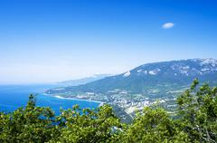 Gurzuf and Ayu Dag mountain. Crimea. Ukraine Stock Photos