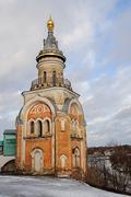 Old tower of ancient monastery in Torzhok, wintertime - stock photo