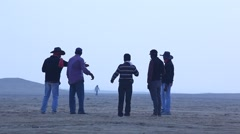 Silhouette of people Rural area at Rajasthan India Stock Footage