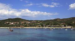 Ouranoupoli on coast of Athos in Greece - stock photo